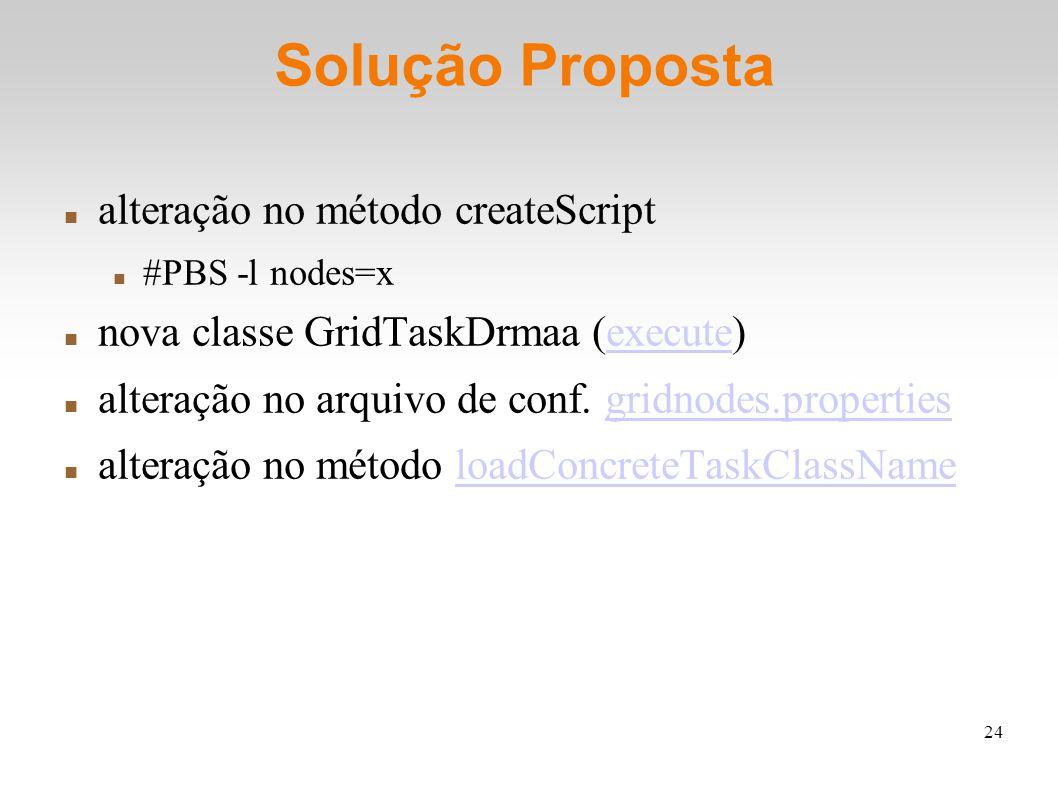 24 Solução Proposta alteração no método createScript #PBS -l nodes=x nova classe GridTaskDrmaa (execute)execute alteração no arquivo de conf. gridnod