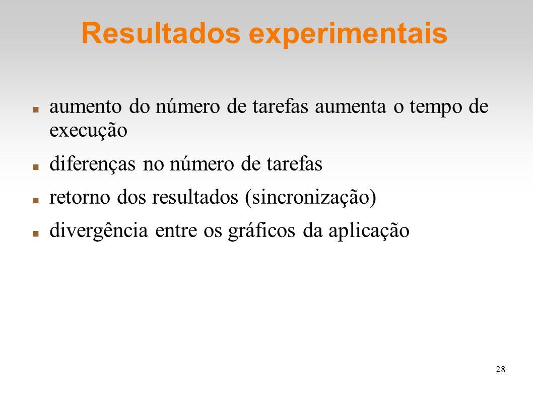 28 Resultados experimentais aumento do número de tarefas aumenta o tempo de execução diferenças no número de tarefas retorno dos resultados (sincronização) divergência entre os gráficos da aplicação