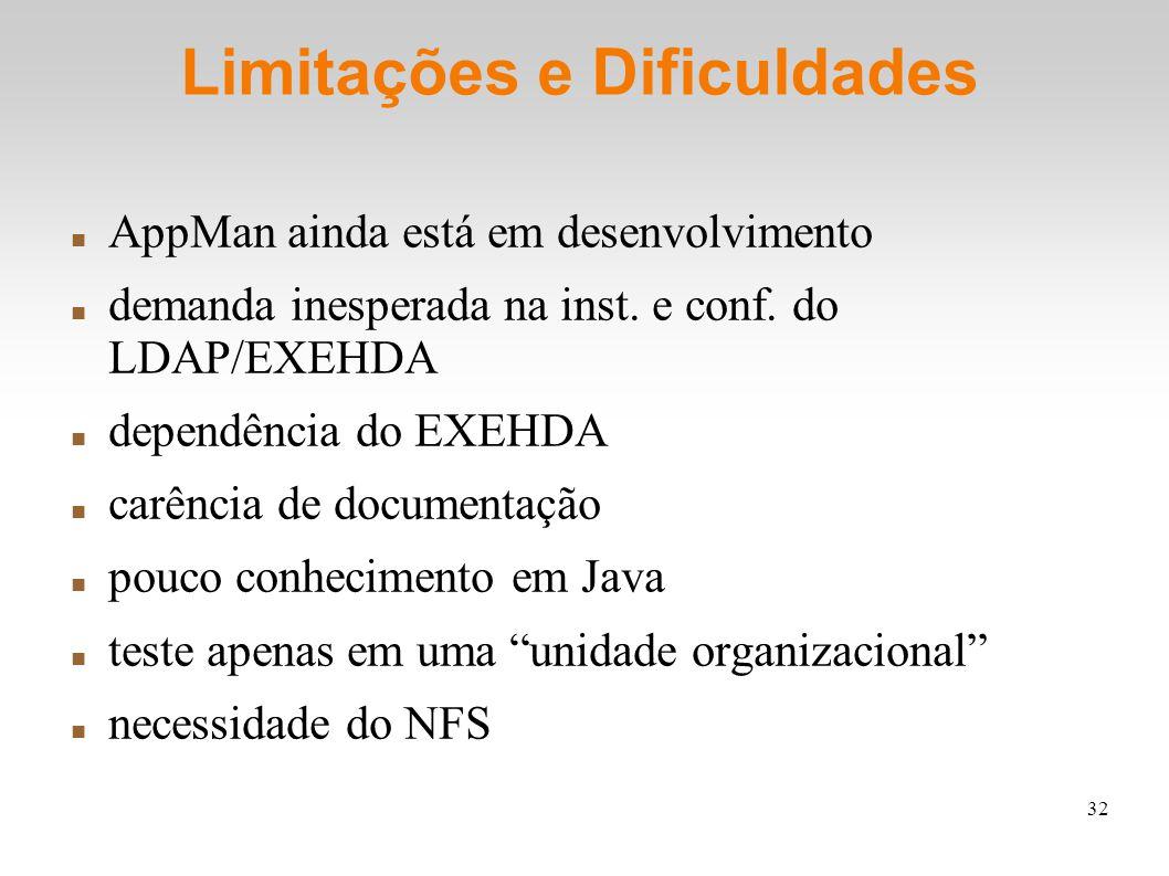 32 Limitações e Dificuldades AppMan ainda está em desenvolvimento demanda inesperada na inst. e conf. do LDAP/EXEHDA dependência do EXEHDA carência de