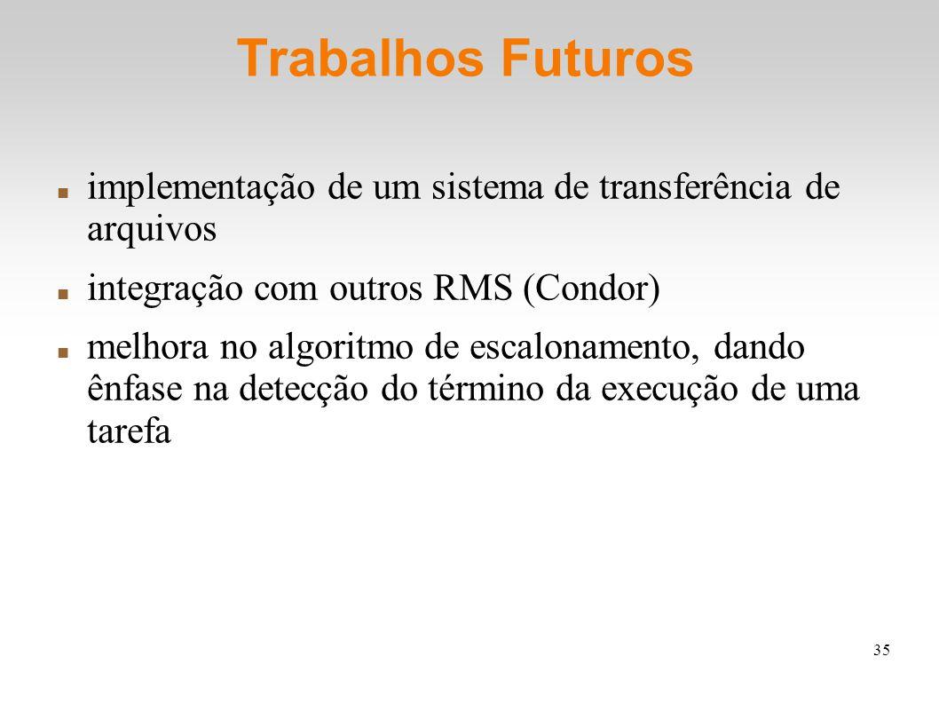 35 Trabalhos Futuros implementação de um sistema de transferência de arquivos integração com outros RMS (Condor) melhora no algoritmo de escalonamento, dando ênfase na detecção do término da execução de uma tarefa