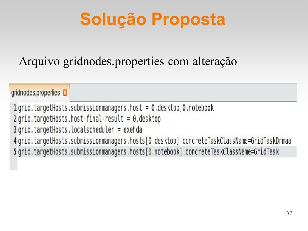 37 Solução Proposta Arquivo gridnodes.properties com alteração