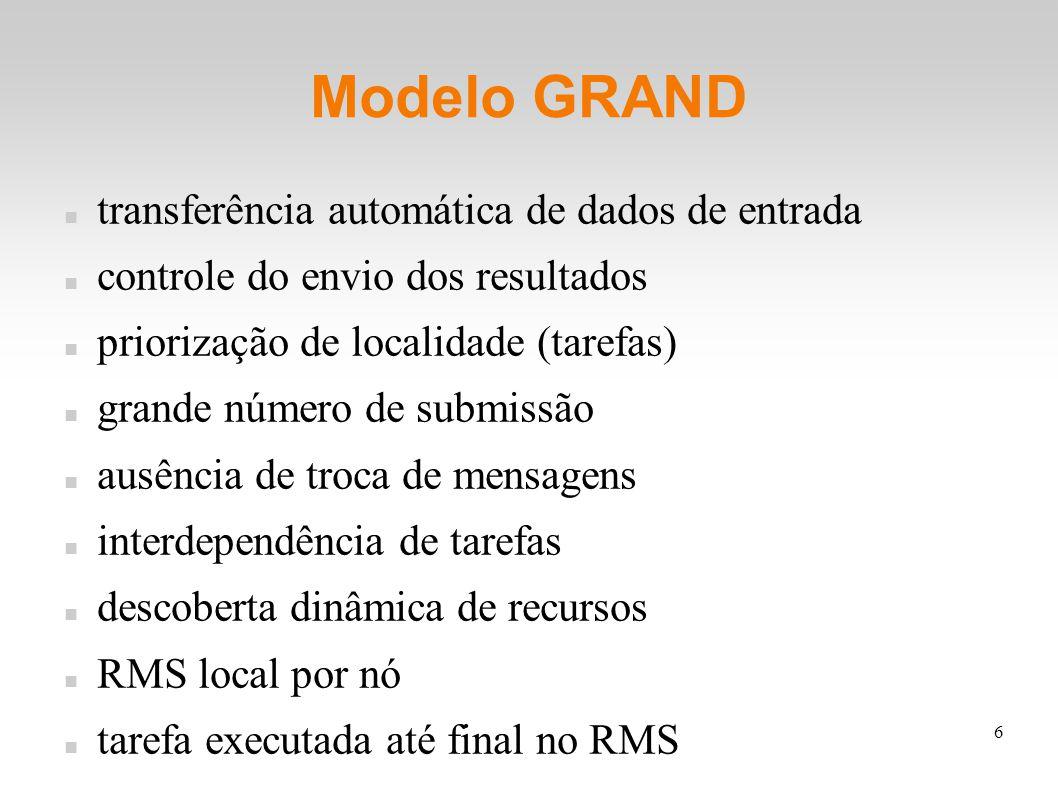 6 Modelo GRAND transferência automática de dados de entrada controle do envio dos resultados priorização de localidade (tarefas) grande número de submissão ausência de troca de mensagens interdependência de tarefas descoberta dinâmica de recursos RMS local por nó tarefa executada até final no RMS