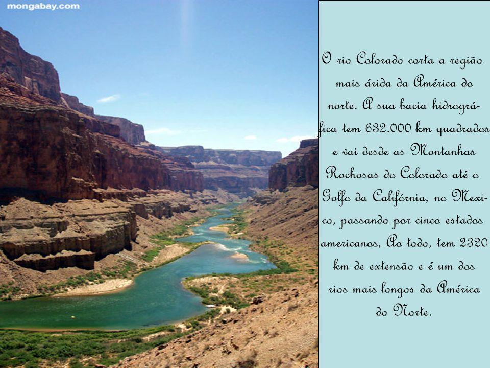 O rio Colorado corta a região mais árida da América do norte. A sua bacia hidrográ- fica tem 632.000 km quadrados e vai desde as Montanhas Rochosas do