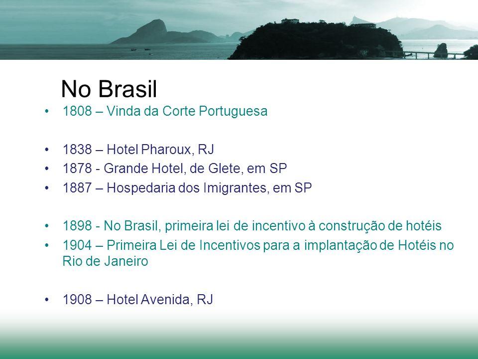 No Brasil 1808 – Vinda da Corte Portuguesa 1838 – Hotel Pharoux, RJ 1878 - Grande Hotel, de Glete, em SP 1887 – Hospedaria dos Imigrantes, em SP 1898