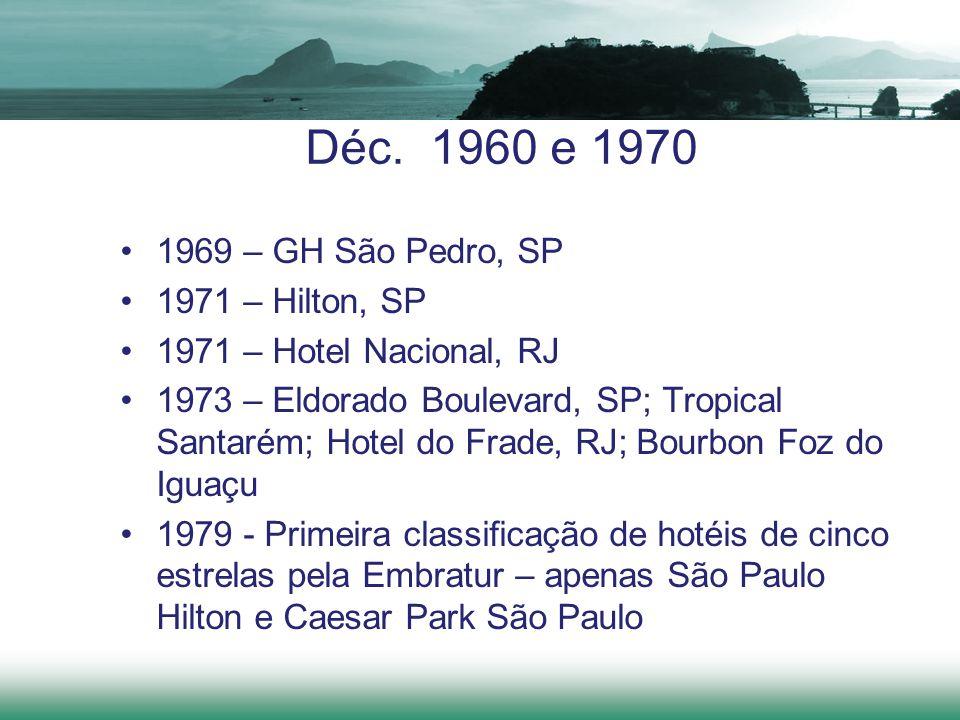 Déc. 1960 e 1970 1969 – GH São Pedro, SP 1971 – Hilton, SP 1971 – Hotel Nacional, RJ 1973 – Eldorado Boulevard, SP; Tropical Santarém; Hotel do Frade,