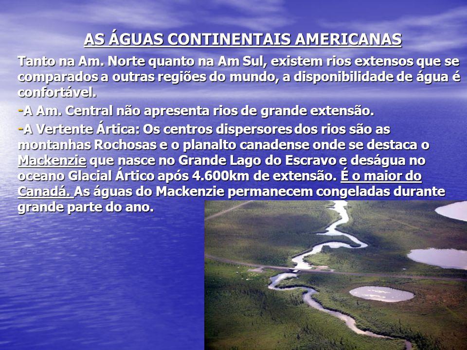 Tanto na Am. Norte quanto na Am Sul, existem rios extensos que se comparados a outras regiões do mundo, a disponibilidade de água é confortável. - A A