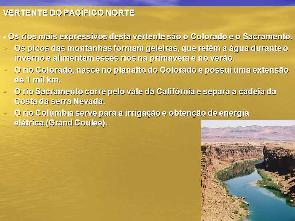 VERTENTE DO PACÍFICO NORTE - Os rios mais expressivos desta vertente são o Colorado e o Sacramento. - Os picos das montanhas formam geleiras, que retê