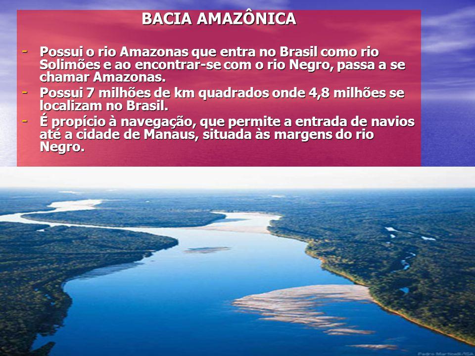 BACIA AMAZÔNICA - Possui o rio Amazonas que entra no Brasil como rio Solimões e ao encontrar-se com o rio Negro, passa a se chamar Amazonas. - Possui
