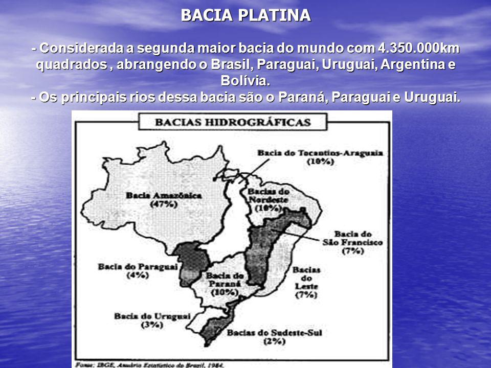 BACIA PLATINA - Considerada a segunda maior bacia do mundo com 4.350.000km quadrados, abrangendo o Brasil, Paraguai, Uruguai, Argentina e Bolívia. - O
