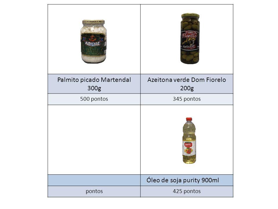 Palmito picado Martendal 300g Azeitona verde Dom Fiorelo 200g 500 pontos345 pontos Óleo de soja purity 900ml pontos425 pontos