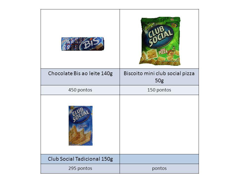 Chocolate Bis ao leite 140gBiscoito mini club social pizza 50g 450 pontos150 pontos Club Social Tadicional 150g 295 pontospontos