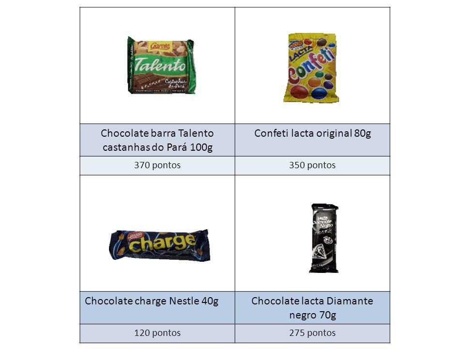 Chocolate barra Talento castanhas do Pará 100g Confeti lacta original 80g 370 pontos350 pontos Chocolate charge Nestle 40gChocolate lacta Diamante negro 70g 120 pontos275 pontos