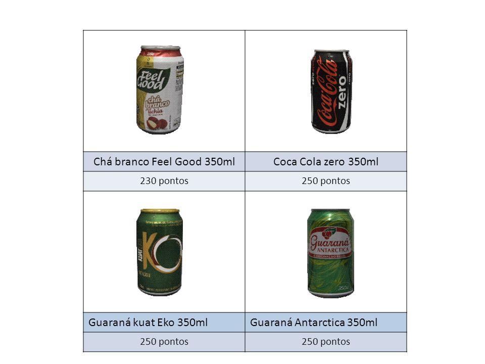 Chá branco Feel Good 350mlCoca Cola zero 350ml 230 pontos250 pontos Guaraná kuat Eko 350mlGuaraná Antarctica 350ml 250 pontos
