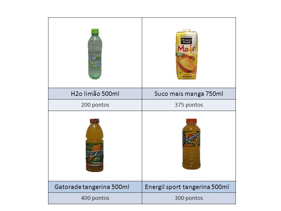 H2o limão 500mlSuco mais manga 750ml 200 pontos375 pontos Gatorade tangerina 500mlEnergil sport tangerina 500ml 400 pontos300 pontos