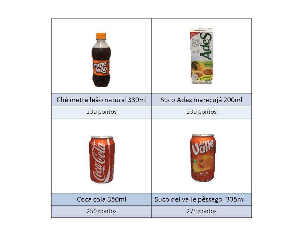 Chá matte leão natural 330mlSuco Ades maracujá 200ml 230 pontos Coca cola 350mlSuco del valle pêssego 335ml 250 pontos275 pontos