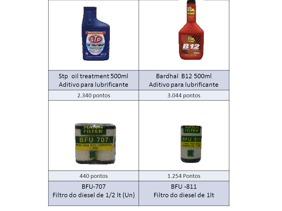 Stp oil treatment 500ml Aditivo para lubrificante Bardhal B12 500ml Aditivo para lubrificante 2.340 pontos3.044 pontos 440 pontos1.254 Pontos BFU-707 Filtro do diesel de 1/2 lt (Un) BFU -811 Filtro do diesel de 1lt