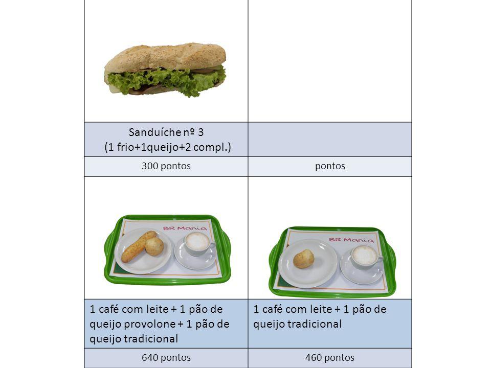 Sanduíche nº 3 (1 frio+1queijo+2 compl.) 300 pontospontos 1 café com leite + 1 pão de queijo provolone + 1 pão de queijo tradicional 1 café com leite + 1 pão de queijo tradicional 640 pontos460 pontos