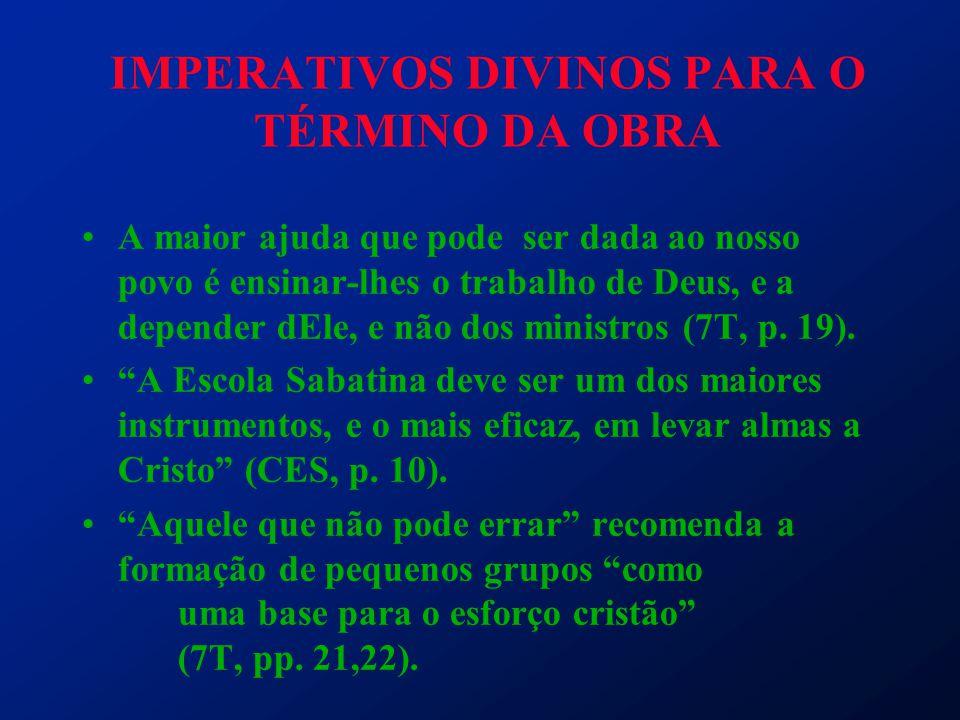 IMPERATIVOS DIVINOS PARA O TÉRMINO DA OBRA A maior ajuda que pode ser dada ao nosso povo é ensinar-lhes o trabalho de Deus, e a depender dEle, e não d