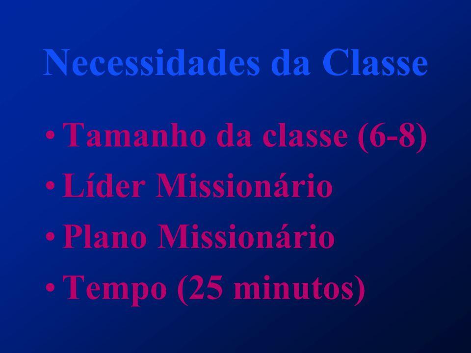 Necessidades da Classe Tamanho da classe (6-8) Líder Missionário Plano Missionário Tempo (25 minutos)