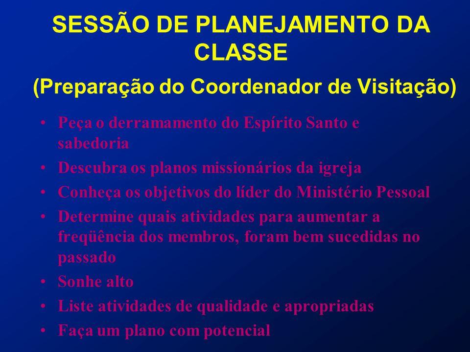 SESSÃO DE PLANEJAMENTO DA CLASSE (Preparação do Coordenador de Visitação) Peça o derramamento do Espírito Santo e sabedoria Descubra os planos mission
