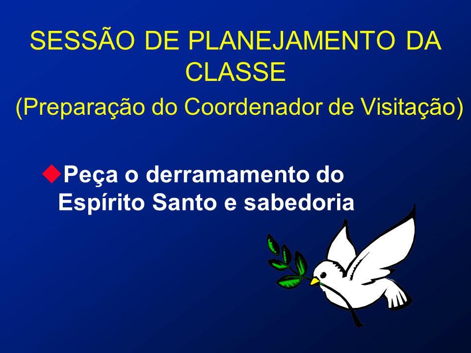 SESSÃO DE PLANEJAMENTO DA CLASSE (Preparação do Coordenador de Visitação) uPeça o derramamento do Espírito Santo e sabedoria