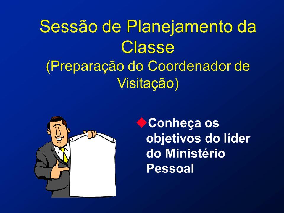 Sessão de Planejamento da Classe (Preparação do Coordenador de Visitação) uConheça os objetivos do líder do Ministério Pessoal