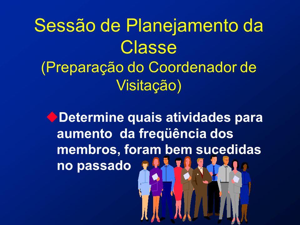 Sessão de Planejamento da Classe (Preparação do Coordenador de Visitação) uDetermine quais atividades para aumento da freqüência dos membros, foram be