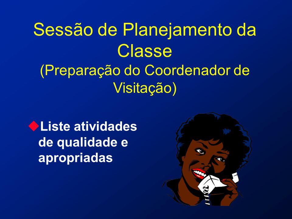 Sessão de Planejamento da Classe (Preparação do Coordenador de Visitação) uListe atividades de qualidade e apropriadas