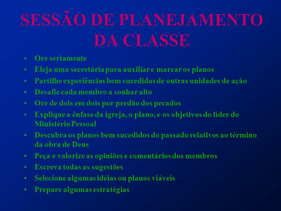 SESSÃO DE PLANEJAMENTO DA CLASSE Ore seriamente Eleja uma secretária para auxiliar e marcar os planos Partilhe experiências bem sucedidas de outras un