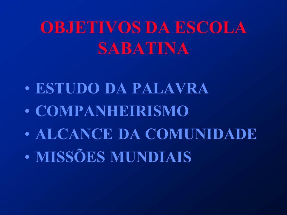 OBJETIVOS DA ESCOLA SABATINA ESTUDO DA PALAVRA COMPANHEIRISMO ALCANCE DA COMUNIDADE MISSÕES MUNDIAIS