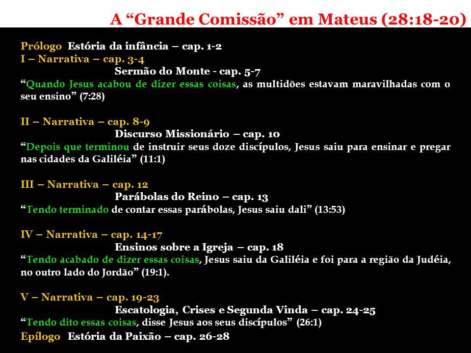 A Grande Comissão em Mateus (28:18-20) PrólogoEstória da infância – cap.