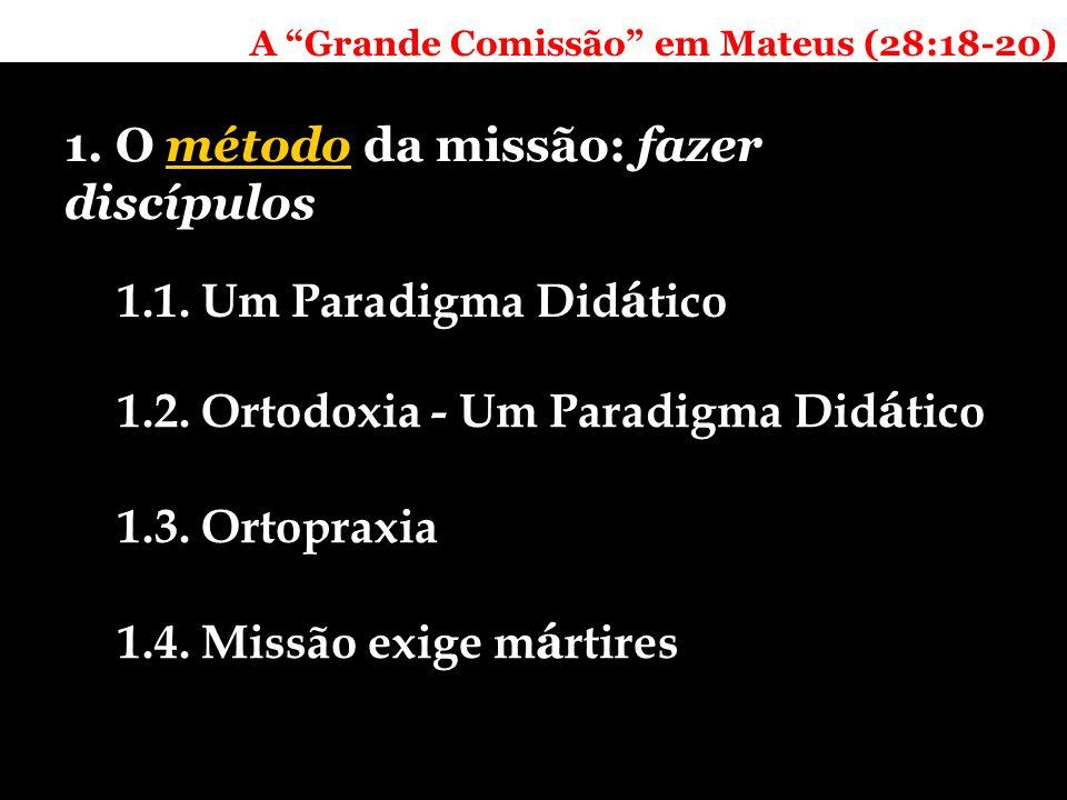 A Grande Comissão em Mateus (28:18-20) 1. O método da missão: fazer discípulos 1.1.