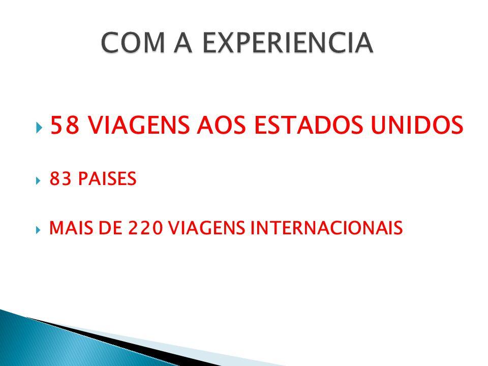  58 VIAGENS AOS ESTADOS UNIDOS  83 PAISES  MAIS DE 220 VIAGENS INTERNACIONAIS