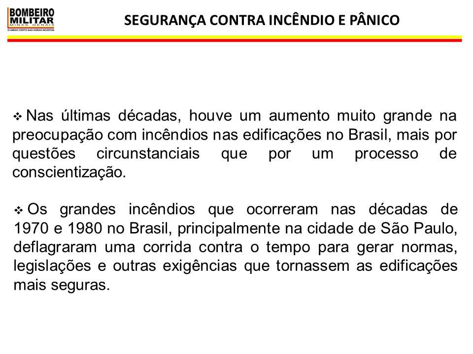 SEGURANÇA CONTRA INCÊNDIO E PÂNICO 20  Nas últimas décadas, houve um aumento muito grande na preocupação com incêndios nas edificações no Brasil, mai