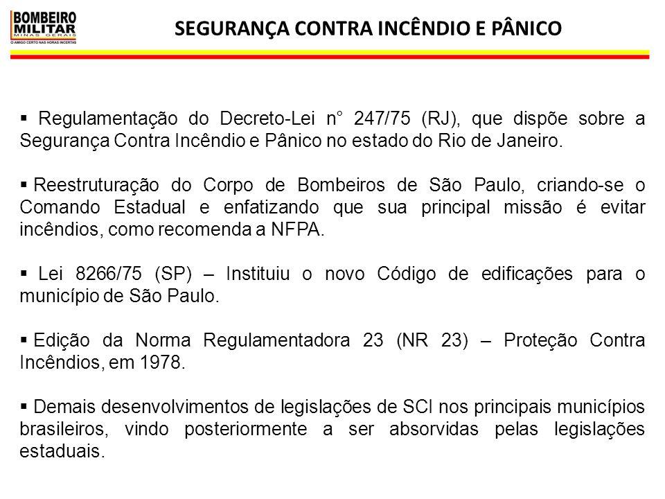 SEGURANÇA CONTRA INCÊNDIO E PÂNICO 24  Regulamentação do Decreto-Lei n° 247/75 (RJ), que dispõe sobre a Segurança Contra Incêndio e Pânico no estado