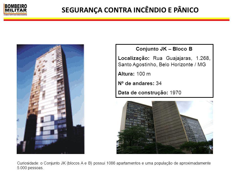 SEGURANÇA CONTRA INCÊNDIO E PÂNICO 32 Conjunto JK – Bloco B Localização: Rua Guajajaras, 1.268, Santo Agostinho, Belo Horizonte / MG Altura: 100 m Nº