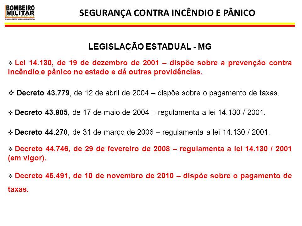 SEGURANÇA CONTRA INCÊNDIO E PÂNICO 39  Lei 14.130, de 19 de dezembro de 2001 – dispõe sobre a prevenção contra incêndio e pânico no estado e dá outra