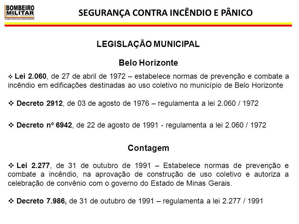 SEGURANÇA CONTRA INCÊNDIO E PÂNICO 40 Belo Horizonte  Lei 2.060, de 27 de abril de 1972 – estabelece normas de prevenção e combate a incêndio em edif
