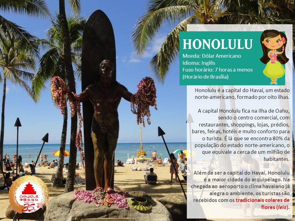 Honolulu é a capital do Havaí, um estado norte-americano, formado por oito ilhas. A capital Honolulu fica na Ilha de Oahu, sendo o centro comercial, c
