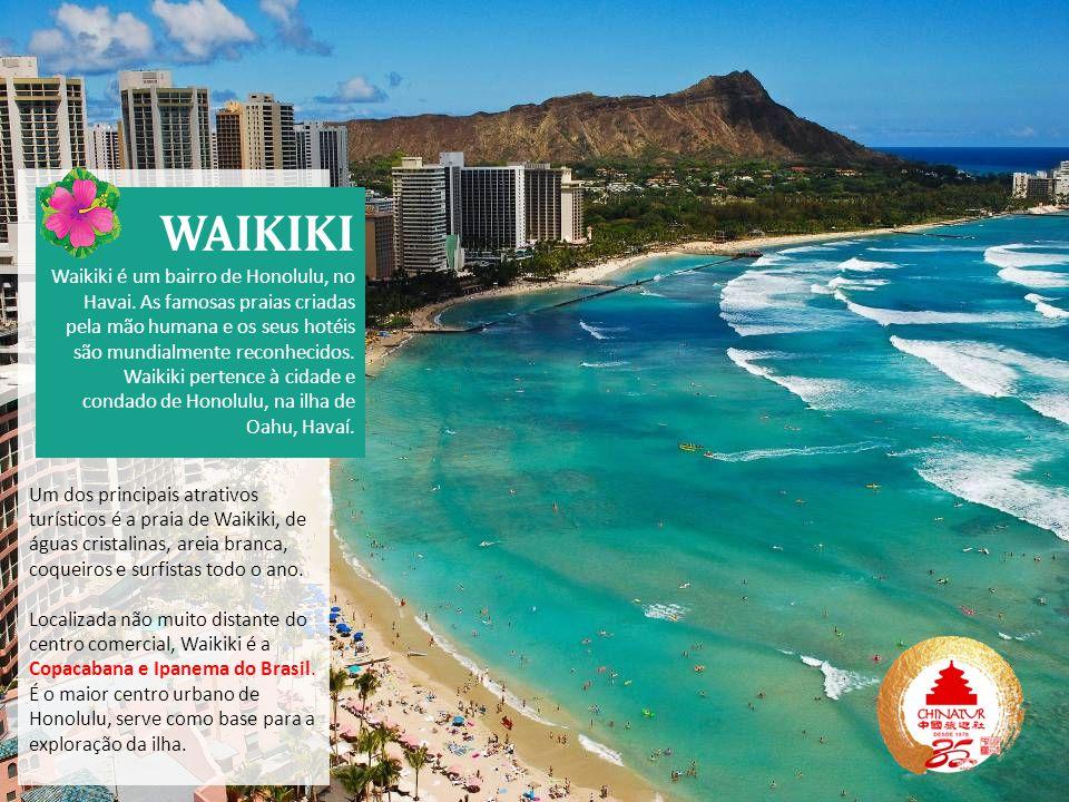 Um dos principais atrativos turísticos é a praia de Waikiki, de águas cristalinas, areia branca, coqueiros e surfistas todo o ano. Localizada não muit