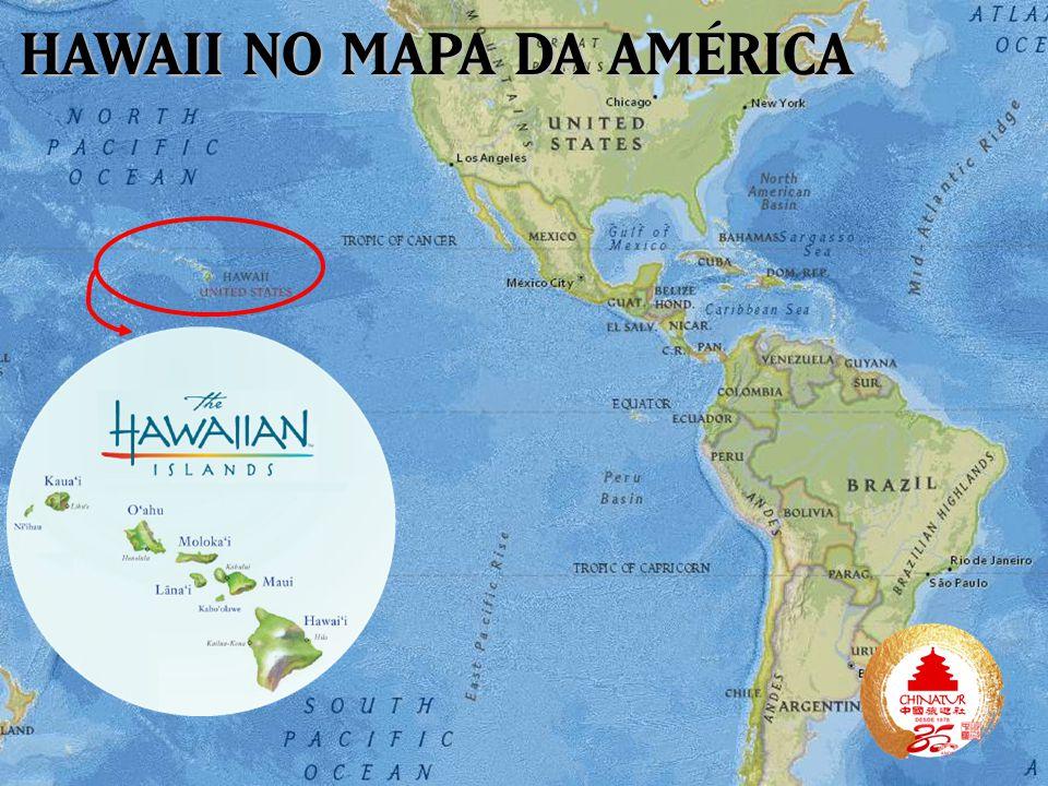 HAWAII NO MAPA DA AMÉRICA
