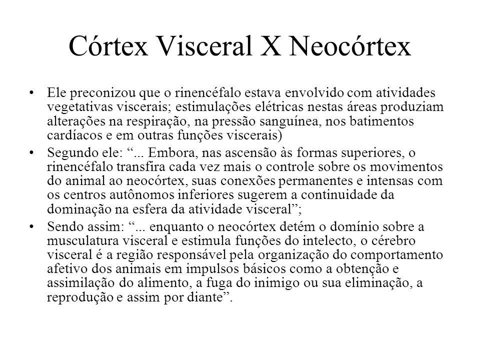 Córtex Visceral X Neocórtex Ele preconizou que o rinencéfalo estava envolvido com atividades vegetativas viscerais; estimulações elétricas nestas área