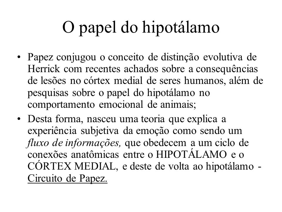 O papel do hipotálamo Papez conjugou o conceito de distinção evolutiva de Herrick com recentes achados sobre a consequências de lesões no córtex media