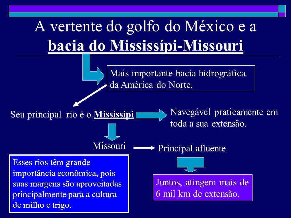 A vertente do golfo do México e a bacia do Mississípi-Missouri Mais importante bacia hidrográfica da América do Norte. Seu principal rio é o Mississíp