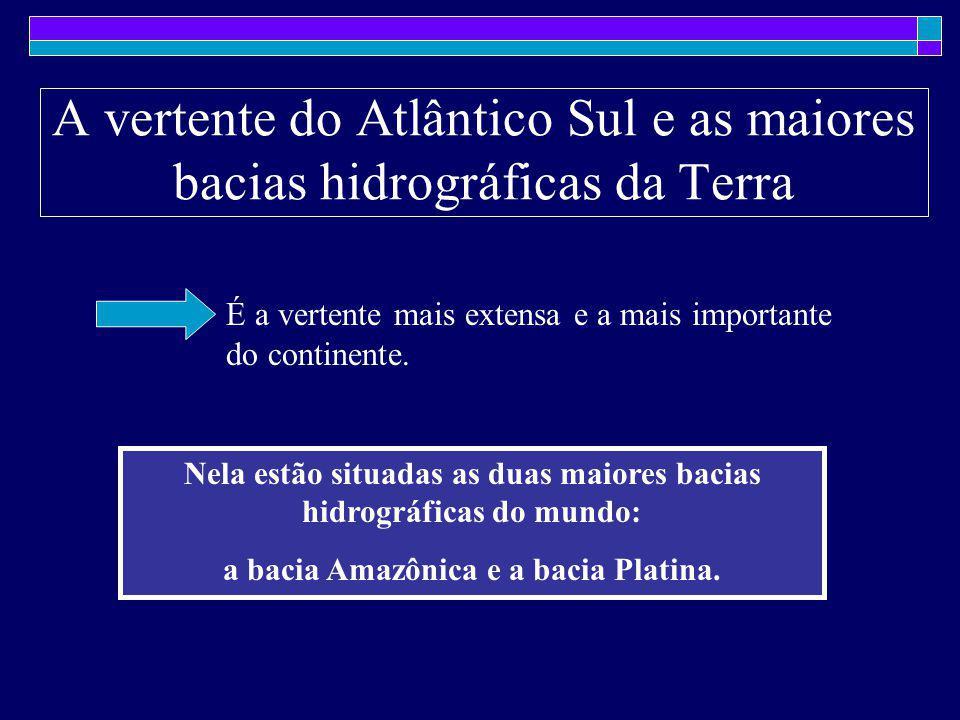 A vertente do Atlântico Sul e as maiores bacias hidrográficas da Terra É a vertente mais extensa e a mais importante do continente. Nela estão situada