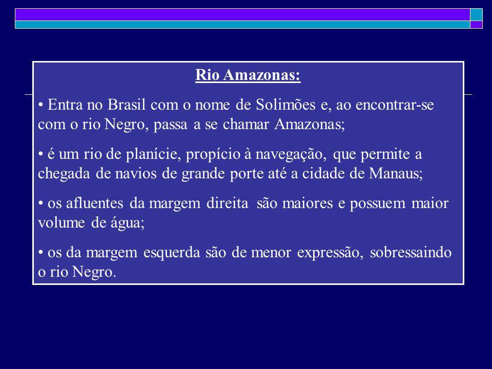 Rio Amazonas: Entra no Brasil com o nome de Solimões e, ao encontrar-se com o rio Negro, passa a se chamar Amazonas; é um rio de planície, propício à