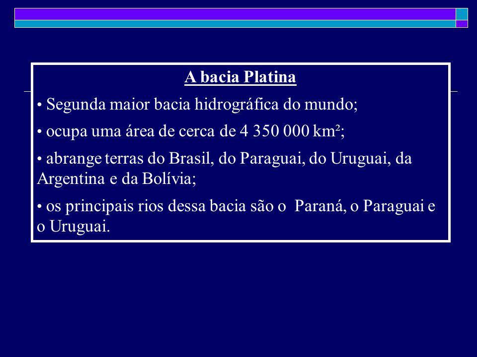 A bacia Platina Segunda maior bacia hidrográfica do mundo; ocupa uma área de cerca de 4 350 000 km²; abrange terras do Brasil, do Paraguai, do Uruguai