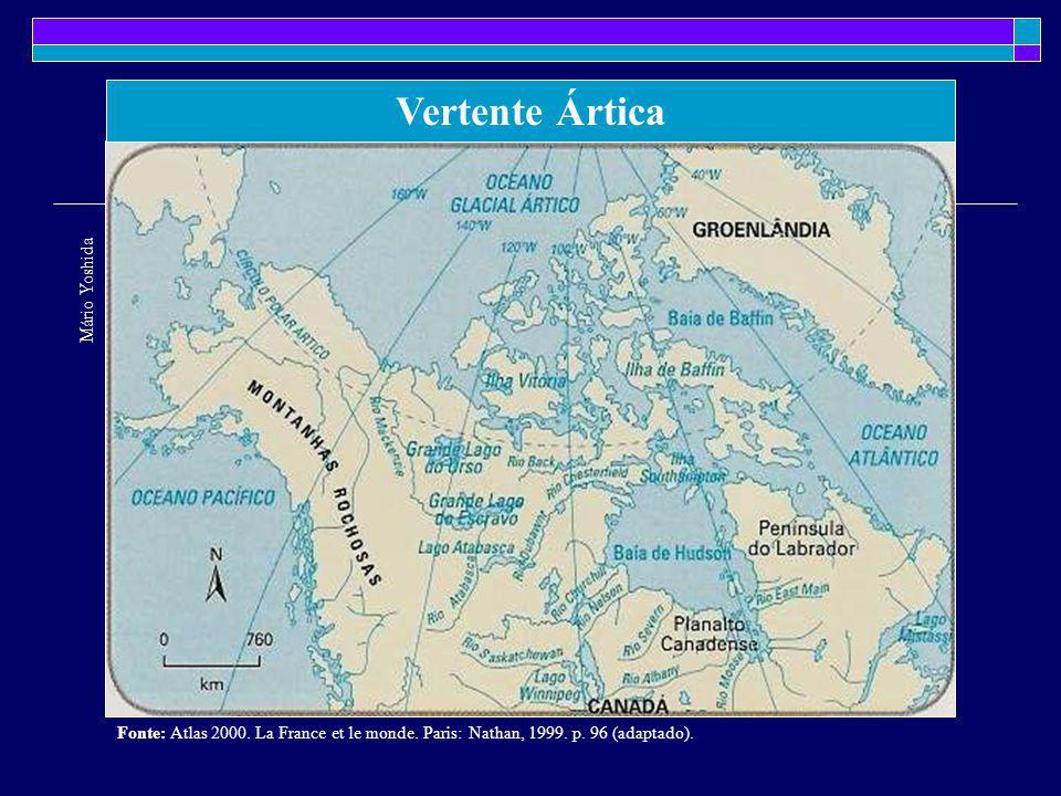A vertente do Atlântico Norte: o rio São Lourenço e os grandes Lagos Mário Yoshida Fonte: Atlas 2000.