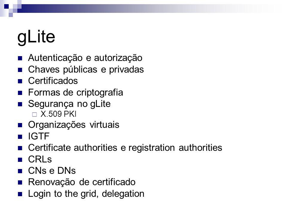gLite Autenticação e autorização Chaves públicas e privadas Certificados Formas de criptografia Segurança no gLite  X.509 PKI Organizações virtuais IGTF Certificate authorities e registration authorities CRLs CNs e DNs Renovação de certificado Login to the grid, delegation