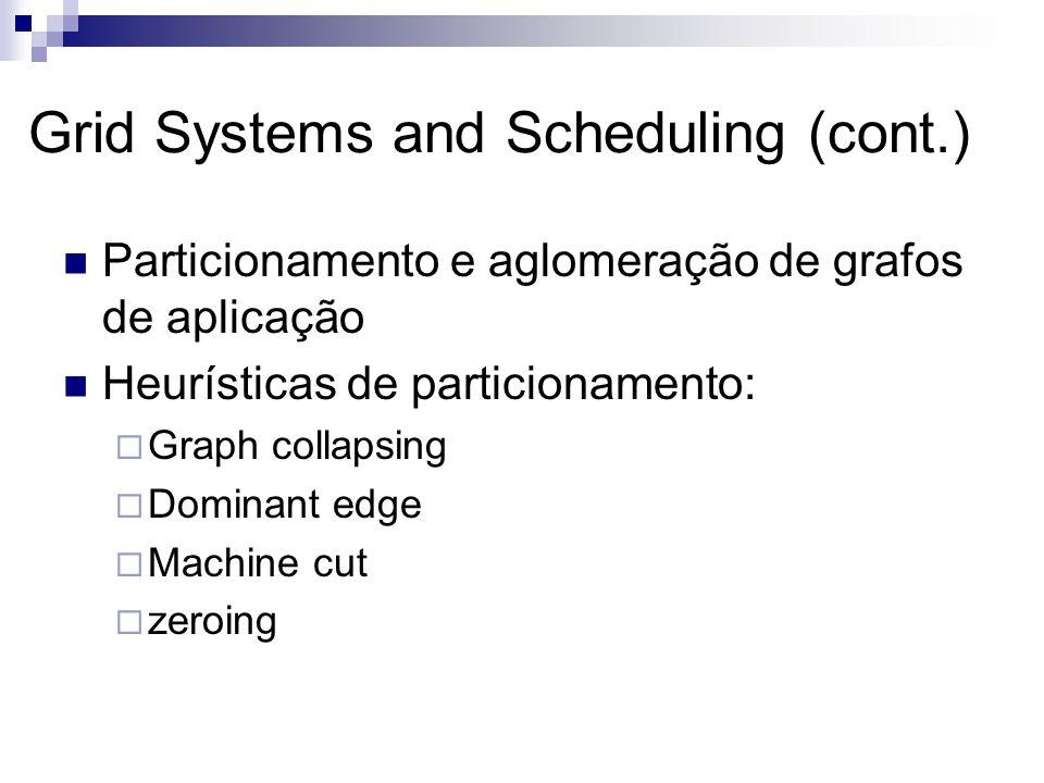 Grid Systems and Scheduling (cont.) Particionamento e aglomeração de grafos de aplicação Heurísticas de particionamento:  Graph collapsing  Dominant edge  Machine cut  zeroing